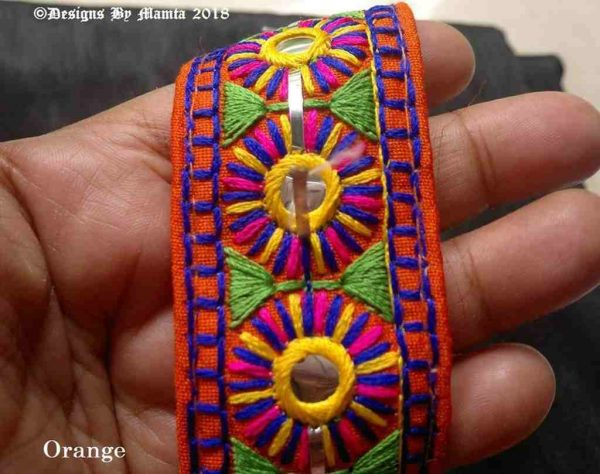 40mm Orange Kutchi Decorative Trim