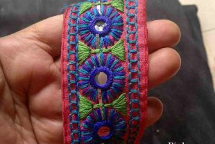 40mm Pink Kutchi Decorative Trim