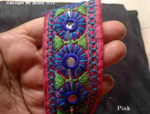 40mm Pink Kutchi Decorative Trim