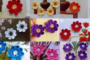 8 Petaled Crochet Daisy Flowers