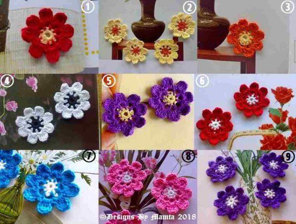 8 Petaled Crochet Daisy Flowers