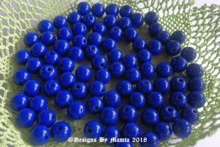 8mm Czech Blue Round Glass Beads