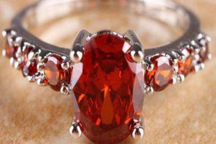 925 Red Garnet Silver Ring
