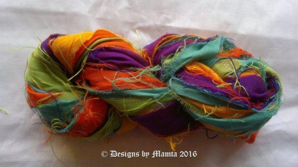 Autumn Sunshine Recycled Sari Yarn Ribbon