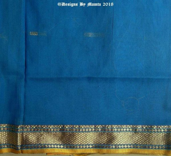 Azure Blue Indian Sari Fabric