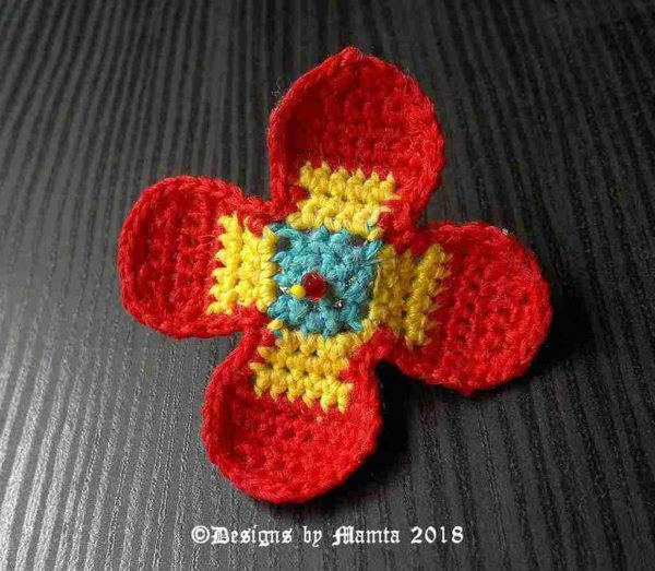 Beaded Crochet Flower Ring