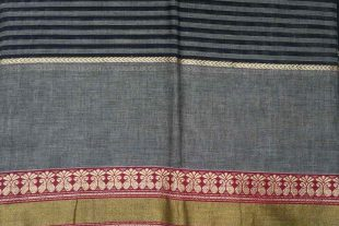Black Grey Indian Ilkal Sari Fabric