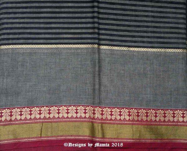 Black Grey Indian Ilkal Sari Fabric
