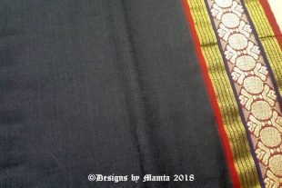Black Hand Woven Indian Ilkal Sari Fabric