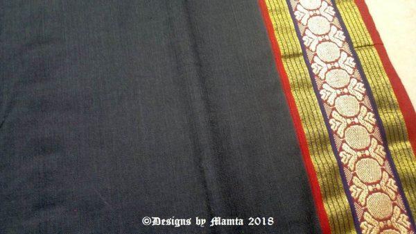 Black Hand Woven Indian Ilkal Sari Fabric