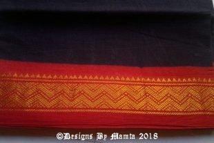 Black Ilkal Ethnic Indian Sari Fabric