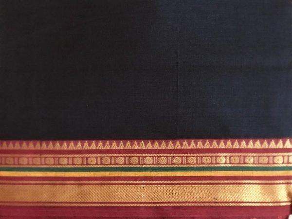 Black Ilkal Handmade Saree Fabric