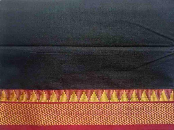 Black Ilkal Saree Fabric