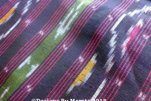 Black Red Waves Arrows Ikat Fabric