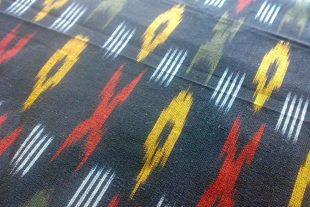 Black Red Yellow White Ikat Fabric