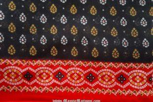 Black Tie Dye Bandhani Sari Fabric