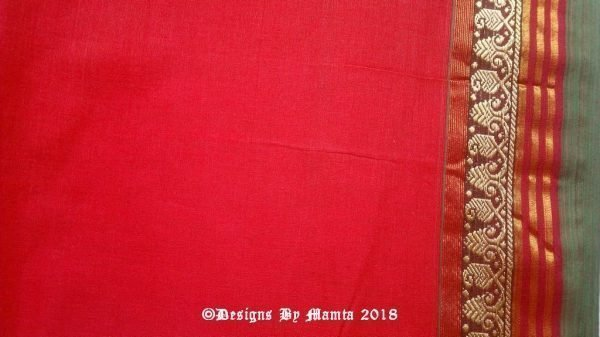 Blood Red Indian Ilkal Saree Fabric