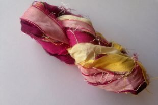 Blooming Lily Flower Multicolored Yarn Ribbon