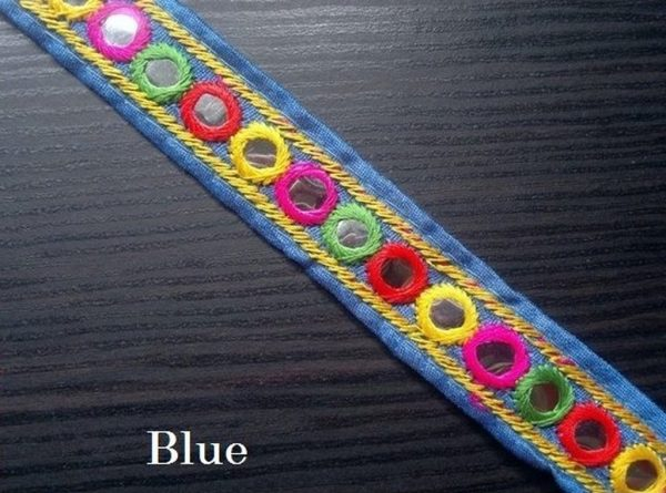Blue Embroidered Trim