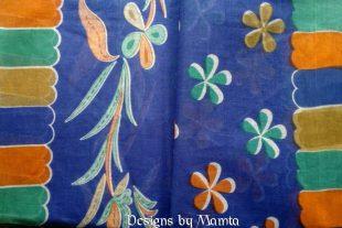 Blue Floral Print Handloom Sari Fabric