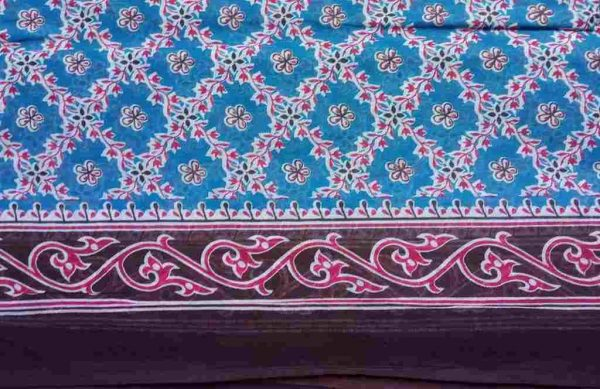 Blue Floral Print Sari Fabric