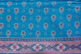 Blue Floral Sari Fabric