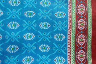 Blue Flower Print Sari Fabric