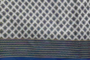 Blue Gold Heart Sari Fabric