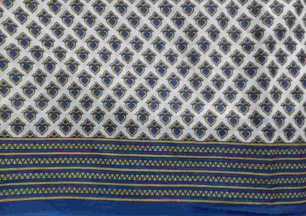 Blue Gold Heart Sari Fabric