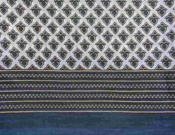Blue Gray White Sari Fabric