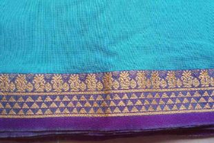 Blue Green Ilkal Sari Fabric