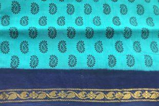 Blue Green Paisley Cotton Sari