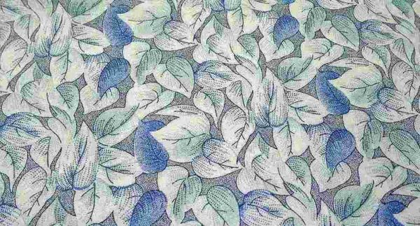 Blue Heart Leaves Quilting Fabric