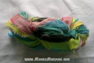 Blue Naped Chlorophonia Sari Silk Ribbons