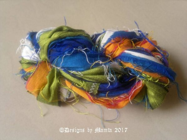 Blue Pansy Sari Ribbon Silk Yarn