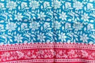 Blue Pink Indian Sari Fabric