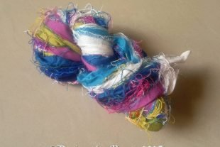 Blue Rose Silk Yarn Sari Ribbon