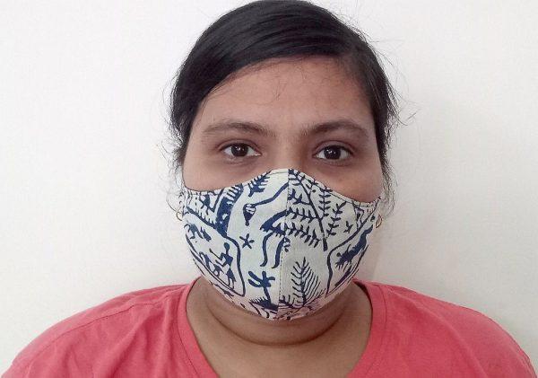 Blue Tribal Print Face Mask