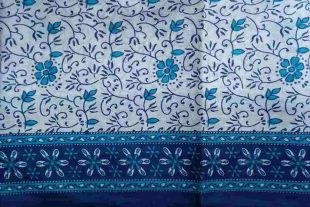 Blue White Floral Sari Fabric