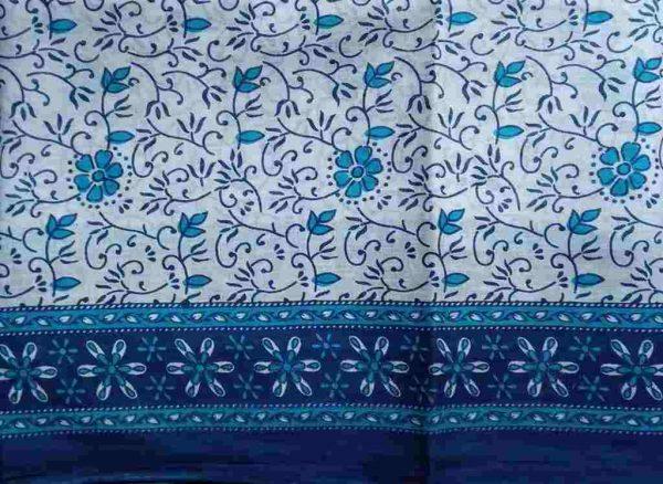 Blue White Floral Sari Fabric