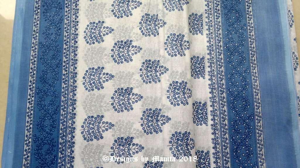 Blueberries White Indian Sari Fabric