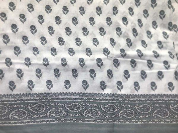Bluish Grey Floral Saree Fabric