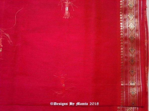 Bright Red Indian Sari Fabric