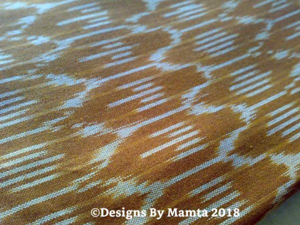 Brown Cream Ikat Fabric