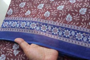 Brown Floral Indian Saree Fabric