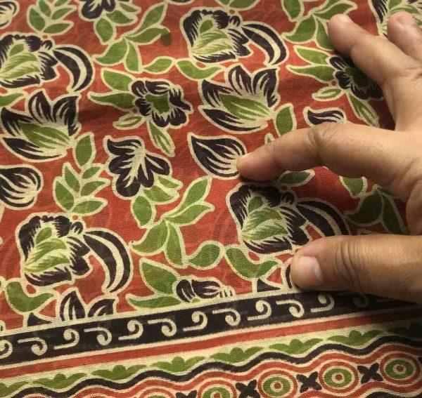 Brown Green Floral Sari Fabric