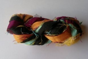 Contrasting Colors Recycled Sari Yarn Ribbon
