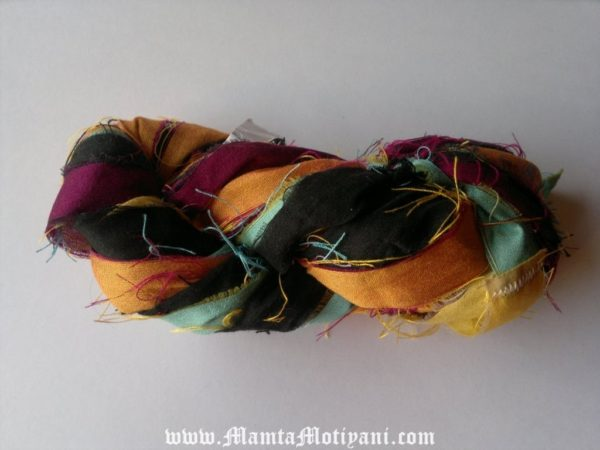 Contrasting Colors Recycled Sari Yarn Ribbon