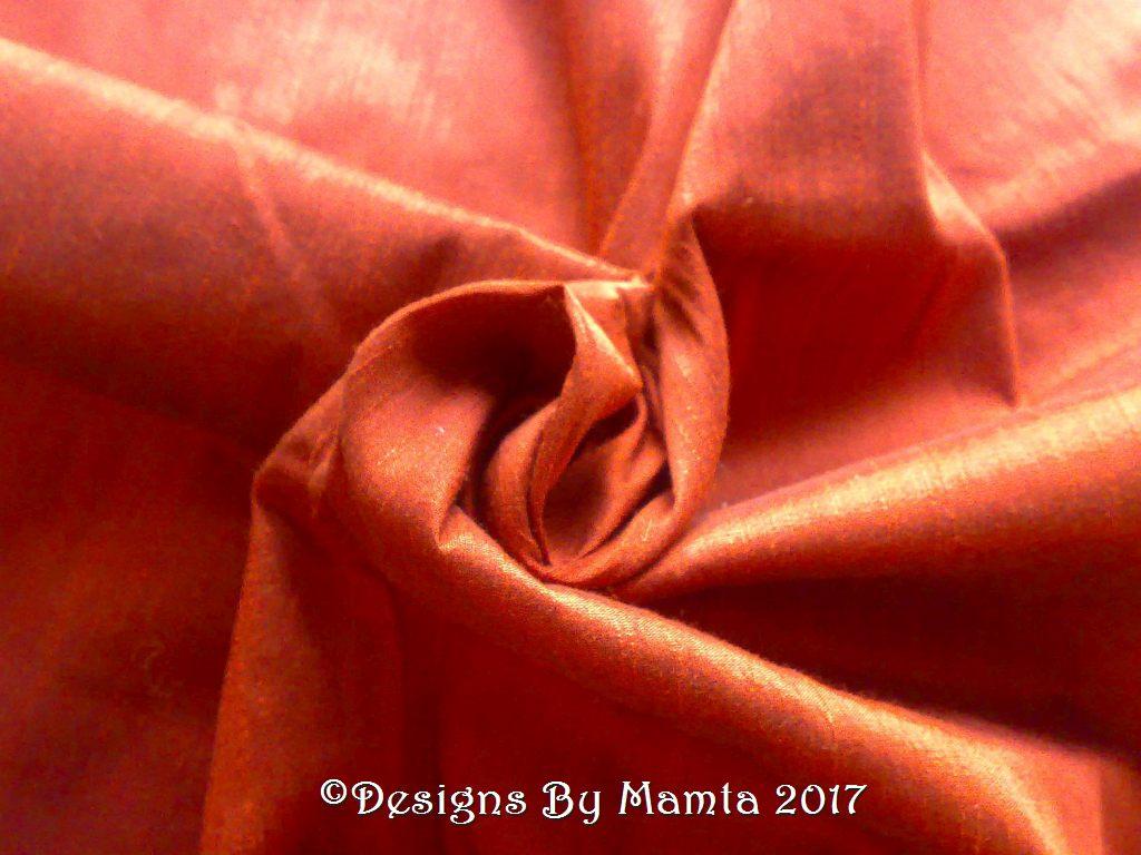 Copper Brown Art Silk Dupioni Fabric By The Yard