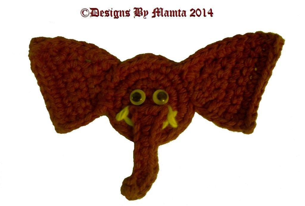 Elephant Applique Pattern Crochet Animal Embellishment By Mamta